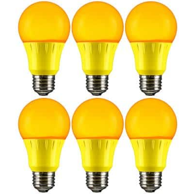 22-Watt Equivalent A19 LED Yellow Light Bulbs Medium E26 Base in Yellow (6-Pack)