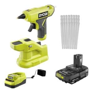ONE+ 18V Cordless Compact Glue Gun Kit with 2.0 Ah Battery, 18V Charger, and 24-Pack 5/16 in. x 6 in. Mini Glue Sticks