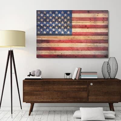 """45 in. x 30 in. """"American Dream"""" Arte de Legno Digital Print on Solid Wood Wall Art"""
