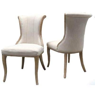 Luxury Farmhouse Beige Wooden Vintage/Unfinished Wood with Fabric and Cushion Dinning Chair (Set of 2)