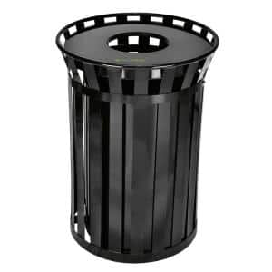 38 Gal. Black Metal Slatted Outdoor Commercial Trash Can Receptacle