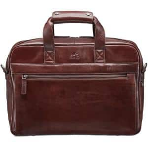 Vanizia Collection Brown Leather Single Compartment Briefcase with RFID Secure Pocket for 15.6 in. Laptop / Tablet