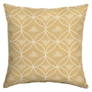 Bee and Scroll Square Outdoor Throw Pillow (2-Pack)