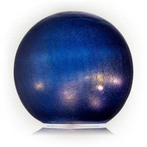 7 in. Dia Indoor/Outdoor Glass Gazing Globe Yard Decoration with LED Lights, Blue