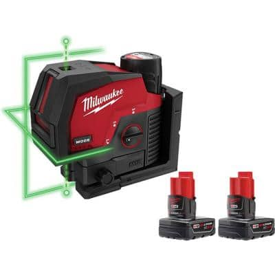 M12 12-Volt Lithium-Ion Cordless Green 125 ft. Cross Line and Plumb Points Laser Level Kit with 3 Batteries