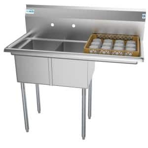 43 in. Freestanding Stainless Steel 2 Compartments Commercial Sink with Drainboard