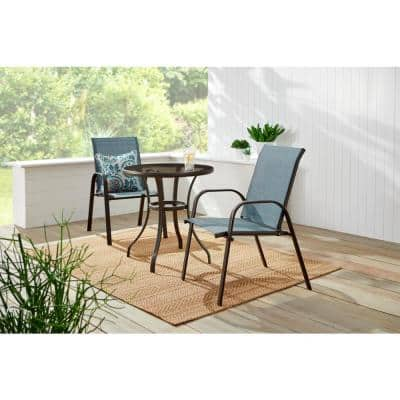 Mix and Match Brown Steel Sling Outdoor Patio Dining Chair in Conley Denim Blue (2-Pack)