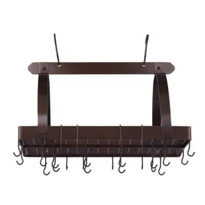 30 in. x 20.5 in. x 15.75 in. Oiled Bronze Pot Rack with Grid and 24 Hooks