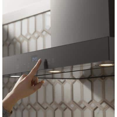 36 in. Smart Wall Mount Range Hood with Light in Black Stainless Steel, Fingerprint Resistant