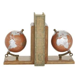 Brown Mango Wood Traditional Globe Bookends 7 in. x 6 in. (Set of 2)