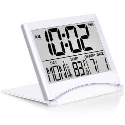 Digital Travel Alarm Clock - Foldable Calendar & Temperature & Timer LCD Clock Battery Operated Silver