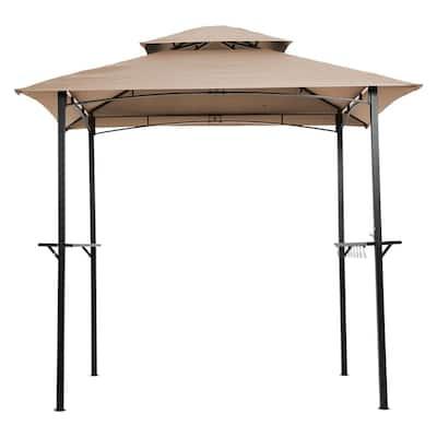 5 ft. x 8 ft. Black Steel Double-Tier Grill Gazebo with Khaki Canopy