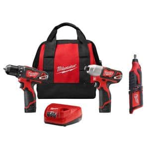 M12 12-Volt Lithium-Ion Cordless Drill Driver/Impact Driver Combo Kit (2-Tool) with M12 Rotary Tool