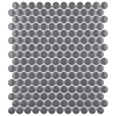 Metro Penny Glossy Dark Grey 9-3/4 in. x 11-1/2 in. Porcelain Mosaic Tile (15.94 sq. ft./Case)