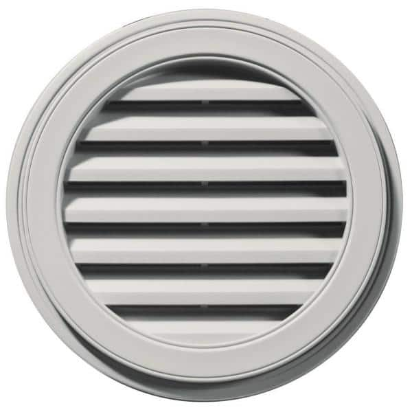 Builders Edge 22 In X 22 In Round Gray Plastic Weather Resistant Gable Louver Vent 120032222030 The Home Depot
