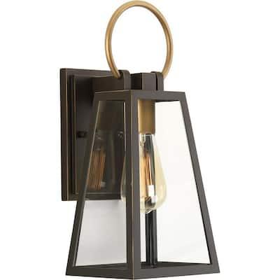 Barnett Collection 1-Light Antique Bronze Clear Glass Farmhouse Outdoor Small Wall Lantern Light
