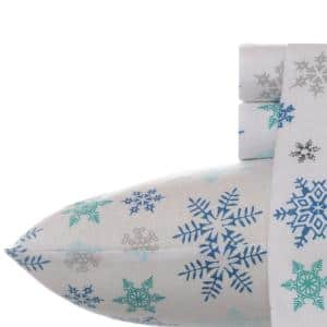 Tossed Snowflake 4-Piece Multi-Blue Graphic Flannel King Sheet Set