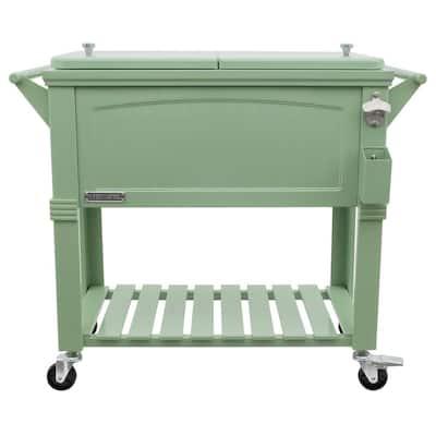 80 Qt. Sage Antique Furniture Style Rolling Patio Cooler