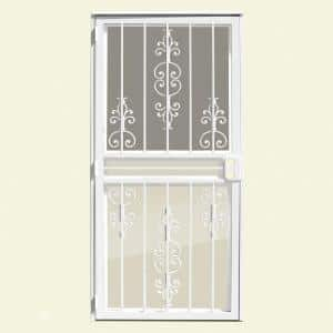 36 in. x 80 in. Estate White Recessed Mount All Season Security Door with Insect Screen and Glass Inserts