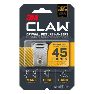 CLAW 45 lbs. Drywall Picture Hanger with Temporary Spot Marker (Pack of 3-Hangers and 3-Markers)