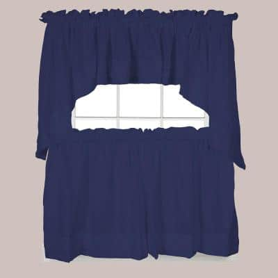 Holden 30 in. L Polyester Swag Valance in Navy (2-Pack)