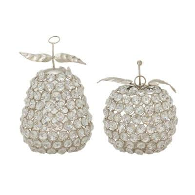 7 in. Silver Metal and Acrylic Rhinestone Apple and Pear Decor (Set of 2)
