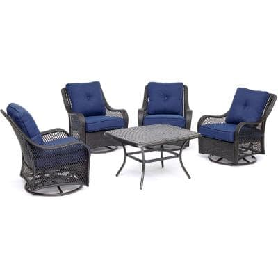 Orleans 5-Piece Aluminum Patio Conversation Set with Cast-Top Coffee Table and 4 Swivel Rockers with Navy Blue Cushions