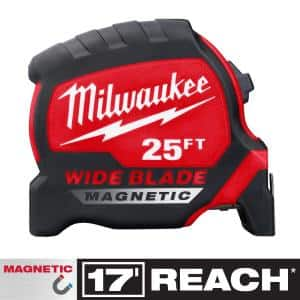 25 ft. x 1.3 in. Wide Blade Magnetic Tape Measure with 17 ft. Reach