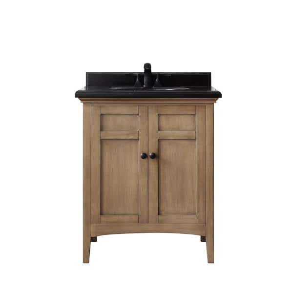 Home Decorators Collection Chartwell 28 In W X 21 In D Bath Vanity In Almond Toffee With Granite Vanity Top In Black With White Basin Chartwell 28at The Home Depot