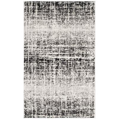 Adirondack Ivory/Black 3 ft. x 5 ft. Solid Gradient Area Rug