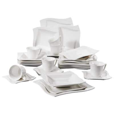 Amparo 30-Piece Casual Ivory White Porcelain Dinnerware Set (Service for 6)