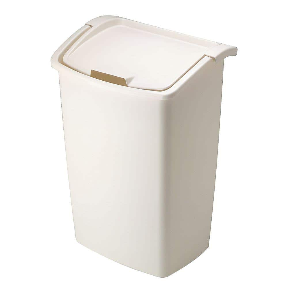 Rubbermaid 11 25 Gal Bisque Dual Action Trash Can 280300bisqu The Home Depot