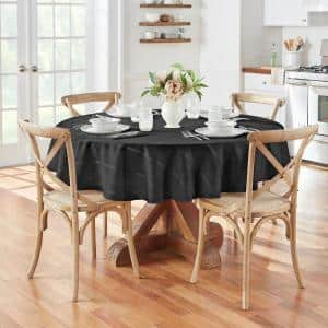 70 in. Round Black Elegance Plaid Damask Fabric Tablecloth