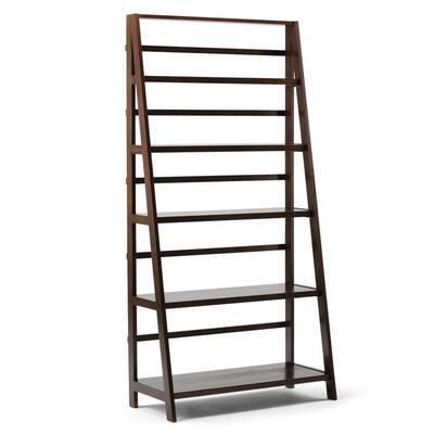 Acadian 72 in. H Dark Brunette Brown Wood 5-Shelf Ladder Bookcase with Open Back