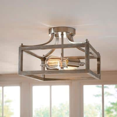 Boswell Quarter 12.5 in. 2-Light Brushed Nickel Semi-Flush Mount with Painted Weathered Gray Wood Accents