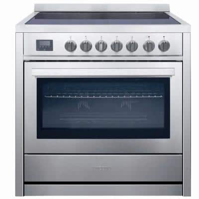 36 in. 3.8 cu. ft. 5 Burners Electric Range with True European Convection Oven in Stainless Steel