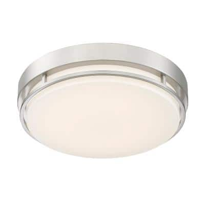 14 in. Brushed Nickel Noble Round Integrated LED Flush Mount