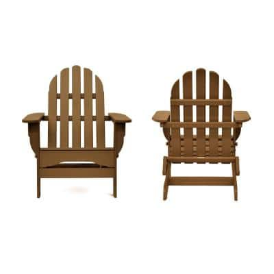 Icon Teak Recycled Plastic Folding Adirondack Chair (2-Pack)