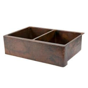 Undermount Hammered Copper 33 in. 0-Hole Double Bowl Kitchen Apron Sink in Oil Rubbed Bronze