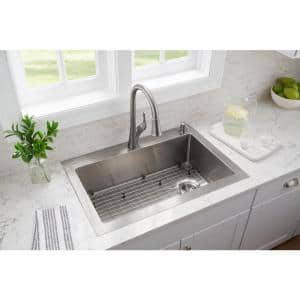 Tight Radius Stainless Steel Drop-In/Undermount 33 in. Single Bowl Kitchen Sink with Pull Down Faucet