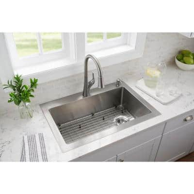 Tight Radius Stainless Steel 33 in. 18-Gauge 2-Hole Single Bowl Dual Mount Kitchen Sink with Pull Down Faucet