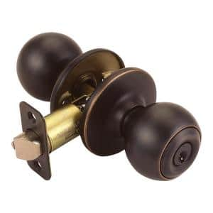 Ball Oil Rubbed Bronze Keyed Entry Door Knob
