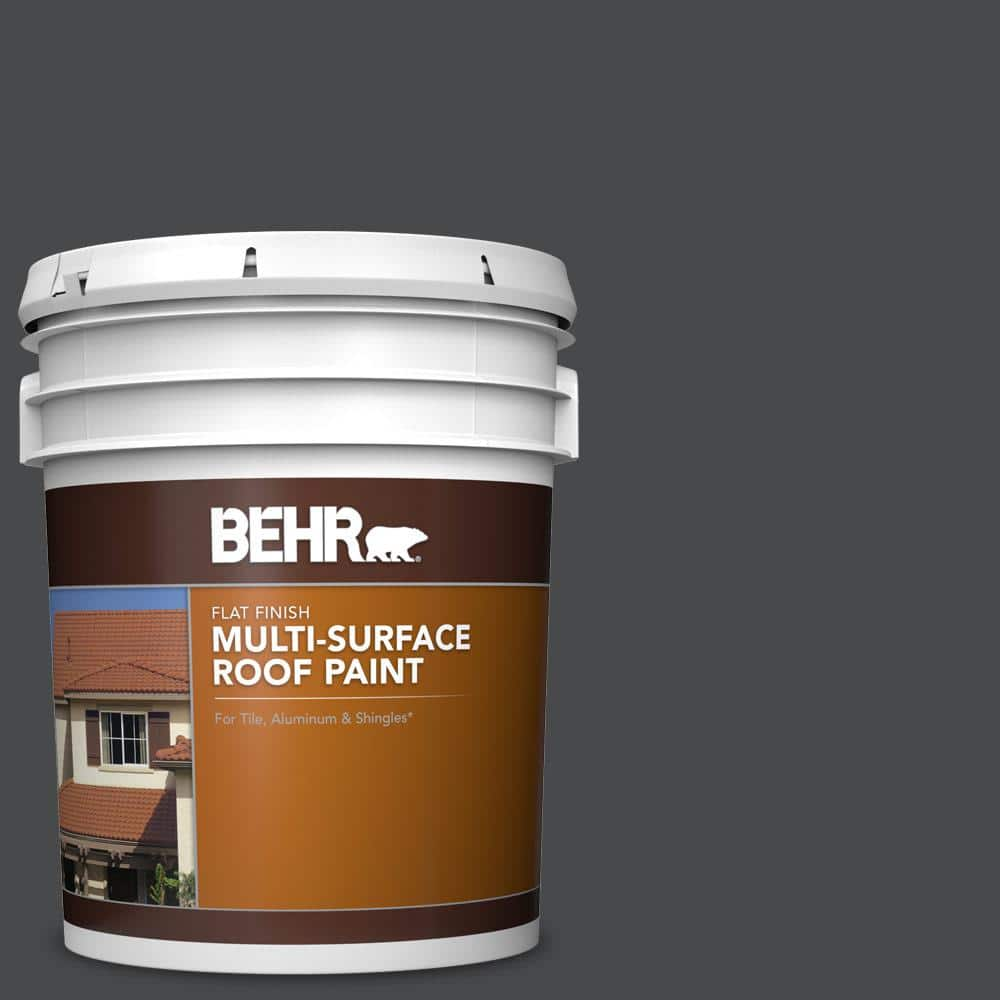 Behr 5 Gal Rp 32 Black Slate Flat Multi Surface Exterior Roof Paint 06605 The Home Depot
