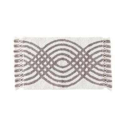 Gray 20 in. x 30 in. Cotton Fringed Waves Bath Rug