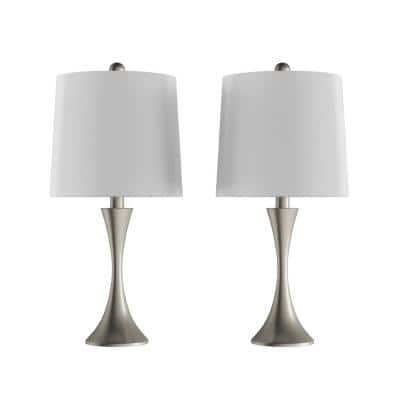 24.5 in. Silver Mid-Century Modern Metal Flared Trumpet Base LED Table Lamps (Set of 2)