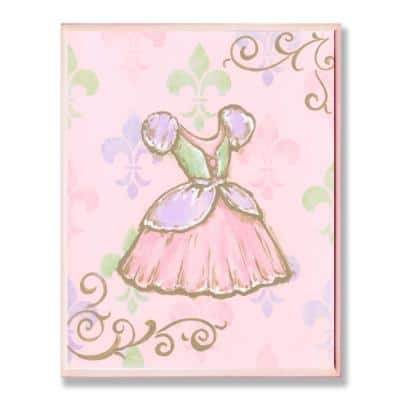 """12.5 in. x 18.5 in. """"Princess Dress with Fleur de Lis on Pink Background"""" by Reesa Qualia Printed Wood Wall Art"""