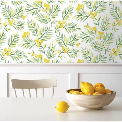 Lemon Branch Botanical Vinyl Peel & Stick Wallpaper Roll (Covers 30.75 Sq. Ft.)