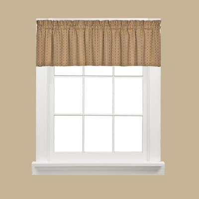 Tan Polka Dot Rod Pocket Room Darkening Curtain - 58 in. W x 13 in. L