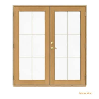 72 in. x 80 in. W-2500 Desert Sand Clad Wood Left-Hand 6 Lite French Patio Door w/Stained Interior