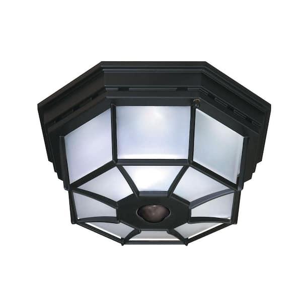 Heath Zenith 360 4 Light Black Motion, Outdoor Porch Ceiling Lights With Motion Sensor
